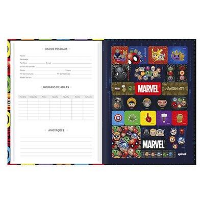 Caderno universitário capa dura brochura costurado 80 folhas Marvel Emoji 212241 Spiral PT 1 UN