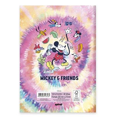 Caderno universitário capa dura brochura costurado 80 folhas Mickey Mouse 212219 Spiral PT 1 UN