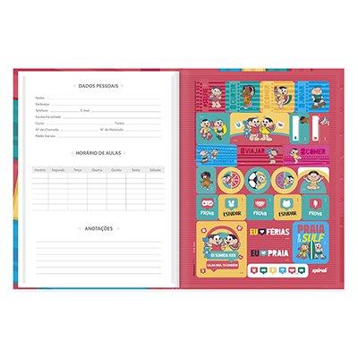 Caderno universitário capa dura brochura costurado 80 folhas Turma da Mônica 212265 Spiral PT 1 UN