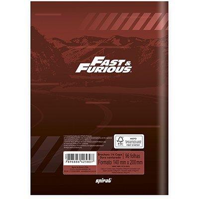 Caderno 1/4 capa dura costurado 96fls Velozes e Furiosos 20999 Spiral Vel PT 1 UN