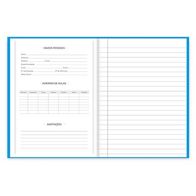 Caderno 1/4 capa dura costurado 96fls azul 74496 Spiral PT 1 UN