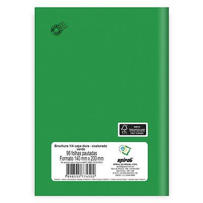 Caderno 1/4 capa dura costurado 96fls verde 74502 Spiral PT 1 UN