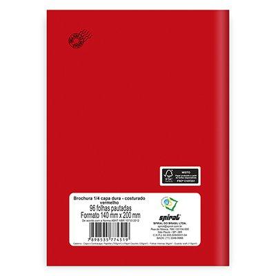 Caderno 1/4 capa dura costurado 96fls vermelho 74519 Spiral PT 1 UN