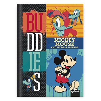Caderno 1/4 capa dura costurado 48fls Mickey Fr 20810 Spiral Mfd PT 1 UN