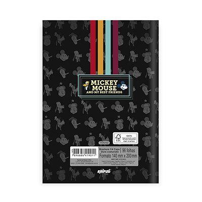 Caderno 1/4 capa dura costurado 96fls Mickey 20843 Spiral Mfd PT 1 UN