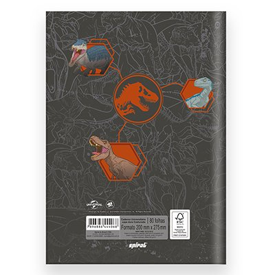 Caderno universitário capa dura brochura costurado 80 folhas Jurassic World 212271 Spiral PT 1 UN