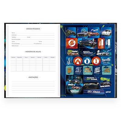 Caderno universitário capa dura brochura costurado 80 folhas Velozes e Furiosos 212268 Spiral PT 1 UN