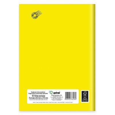 Caderno universitário capa dura costurado 96fls amarelo 64589 Spiral PT 1 UN