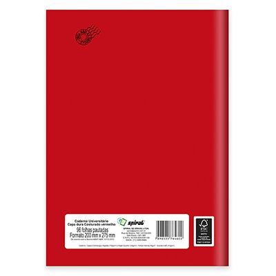 Caderno universitário capa dura costurado 96fls vermelho 64602 Spiral PT 1 UN