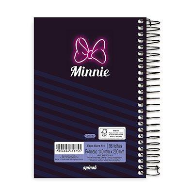Caderno 1/4 espiral capa dura 96fls Minnie 20751 Spiral Mte PT 1 UN