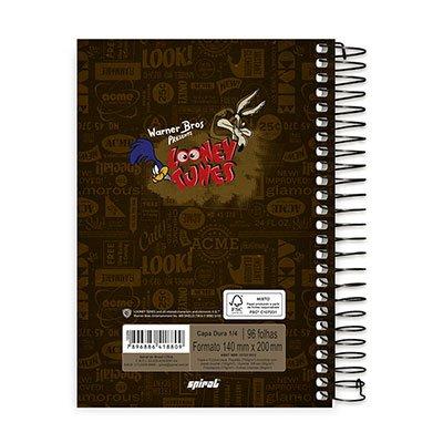 Caderno 1/4 espiral capa dura 96fls Looney Tunes 20769 Spiral Lt PT 1 UN