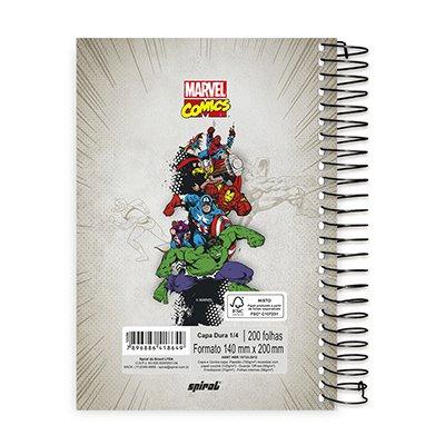 Caderno 1/4 espiral capa dura 200fls Marvel 20801 Spiral Mv PT 1 UN