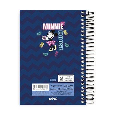 Caderno 1/4 espiral capa dura 200fls Minnie 20785 Spiral Mte PT 1 UN