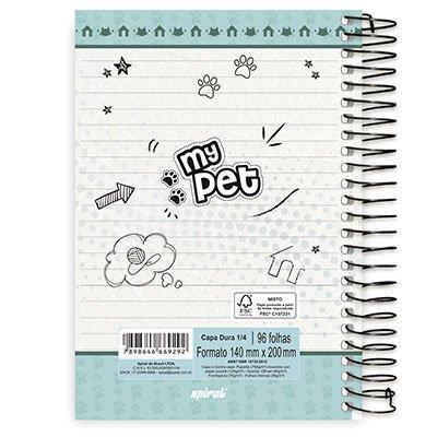 Caderno 1/4 espiral capa dura 96fls My Pet 20774 Spiral Pet PT 1 UN