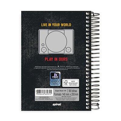 Caderno 1/4 espiral capa dura 96fls Playstation 20775 Spiral Ps PT 1 UN