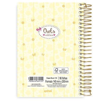 Caderno 1/4 espiral capa dura 96fls Corujinhas 20753 Spiral Cor PT 1 UN