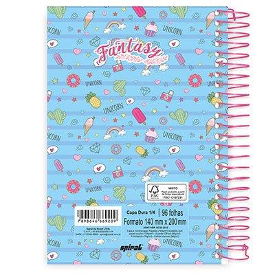 Caderno 1/4 espiral capa dura 96fls Fantasy 20760 Spiral Fan PT 1 UN