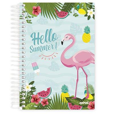 Caderno 1/4 espiral capa dura 96fls Flamingo 20777 Spiral Ten PT 1 UN
