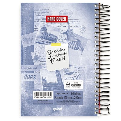 Caderno 1/4 espiral capa dura 96fls Hard Cover 20763 Spiral Har PT 1 UN