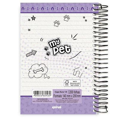 Caderno 1/4 espiral capa dura 200fls My Pet 20800 Spiral Pet PT 1 UN