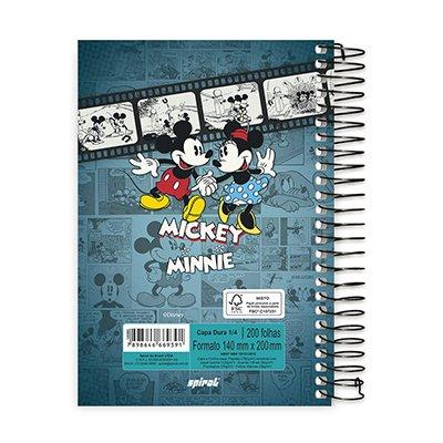 Caderno 1/4 espiral capa dura 200fls Mickey 20792 Spiral Dm PT 1 UN