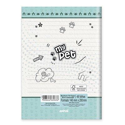 Caderno 1/4 capa dura costurado 48fls My Pet 20832 Spiral Pet PT 1 UN