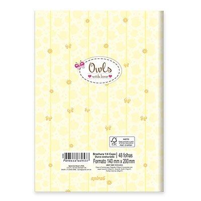 Caderno 1/4 capa dura costurado 48fls Corujinha 20821 Spiral Cor PT 1 UN