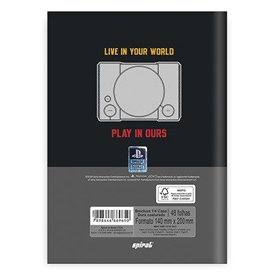Caderno 1/4 capa dura costurado 48fls Playstation 21643 Spiral Ps PT 1 UN