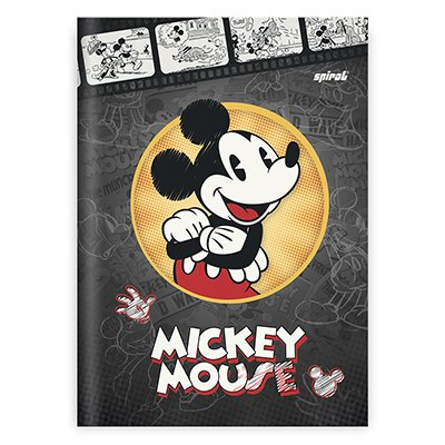 Caderno 1/4 capa dura costurado 48fls Mickey 20822 Spiral Dm PT 1 UN