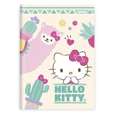 Caderno 1/4 capa dura costurado 96fls Hello Kitty 21697 Spiral Hki  PT 1 UN