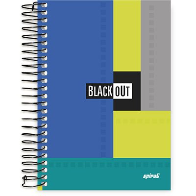 Caderno 1/4 espiral capa dura 96fls Black Out 89544 Spiral Blk PT 1 PT