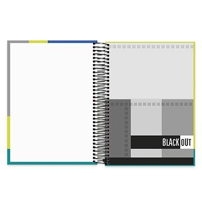 Caderno universitário capa dura 10x1 200fl Black Out 89483 Spiral PT 1 UN