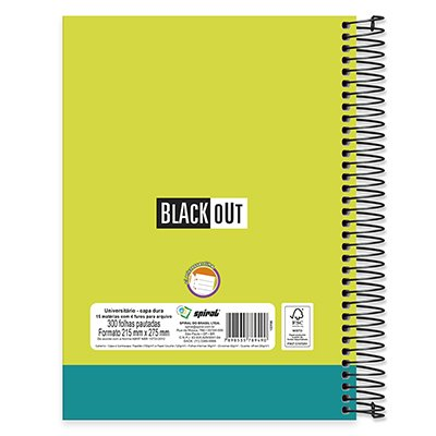 Caderno universitário capa dura 15x1 300fls Black Out 89490 Spiral PT 1 UN