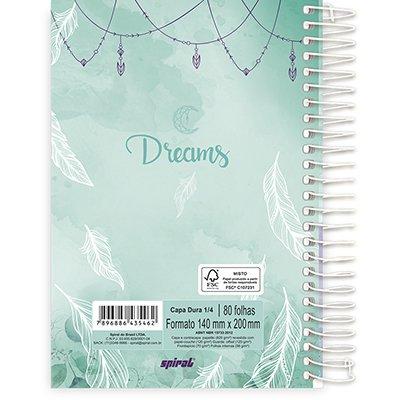 Caderno 1/4 espiral capa dura 80fls Dreams 211262 Spiral Dms PT 1 UN