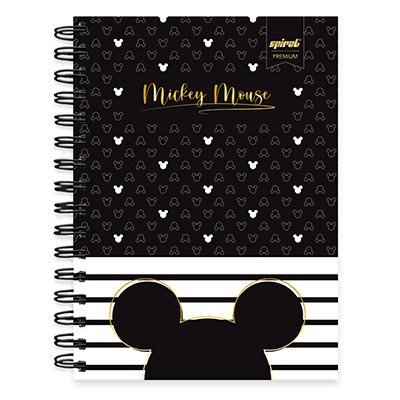 Caderno 1/4 espiral capa dura 80 fls - Disney Mickey PB - 211256 PT 1 UN
