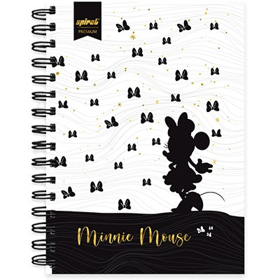 Caderno 1/4 espiral capa dura 80 fls - Disney Minnie PB - 211259 PT 1 UN