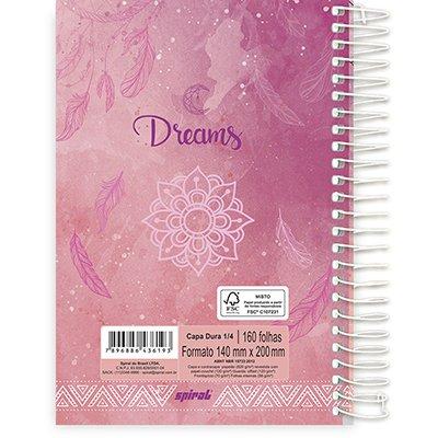 Caderno 1/4 espiral capa dura 160fls Dreams 211359 Spiral Dms PT 1 UN