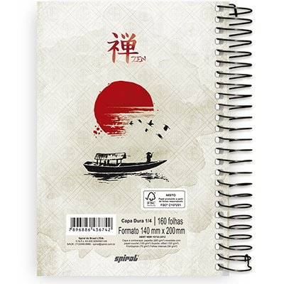 Caderno 1/4 espiral capa dura 160fls Zen 211412 Spiral Zen PT 1 UN