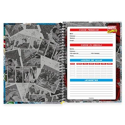 Caderno Universitário Capa Dura 1x1 96 fls Marvel 19115 Spiral Mv PT 1 UN