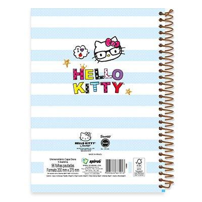 Caderno Universitário Capa Dura 1x1 96 fls Hello Kitty 19754 Spiral Hki PT 1 UN