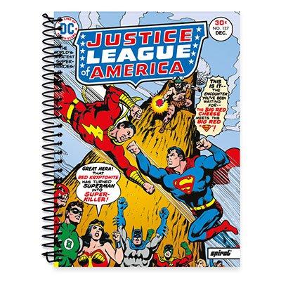 Caderno Universitário Capa Dura 1x1 96 fls Liga da Justiça 19755 Spiral Lig  PT 1 UN