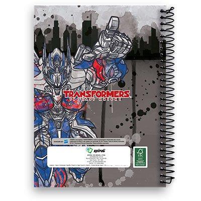 Caderno Universitário Optimus Prime - The Last Knight Capa Dura 10x1 200fl Transformers Spiral PT 1 UN