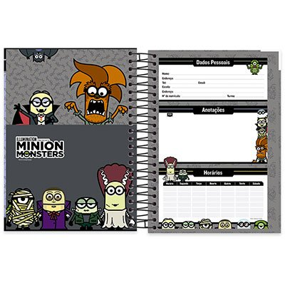 Caderno Universitário Capa Dura 10x1 200 fls Minion 19938 Spiral Mim  PT 1 UN