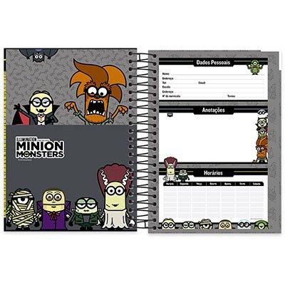 Caderno Universitário Capa Dura 10x1 200 fls Minion 19939 Spiral Mim  PT 1 UN