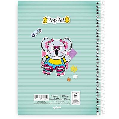 Caderno Universitário Capa Dura 1x1 96 fls Pop Pet 20338 Spiral Pop PT 1 UN