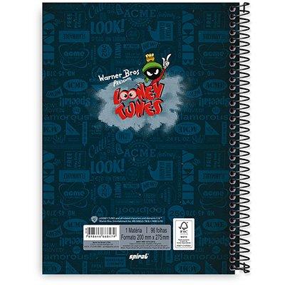 Caderno Universitário Capa Dura 1x1 96 fls Looney Tunes 20303 Spiral Lt  PO 1 UN