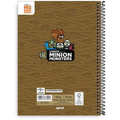Caderno Universitário Capa Dura 1x1 96 fls Minions 20311 Spiral Mim  PT 1 UN