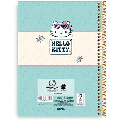 Caderno Universitário Capa Dura 1x1 96 fls Hello Kitty 20288 Spiral Hki PT 1 UN