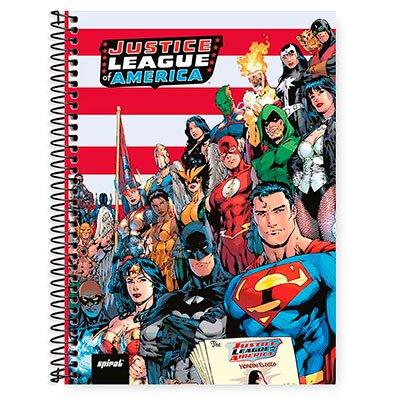 Caderno Universitário Capa Dura 1x1 96 fls Liga da Justiça 20299 Spiral Lig PT 1 UN