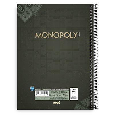 Caderno Universitário Capa Dura 1x1 96 fls Monopoly 20315 Spiral Mnp  PT 1 UN